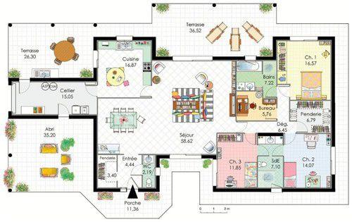 Plan maison contemporaine plain pied toit plat mc immo for Plan maison moderne toit plat plain pied