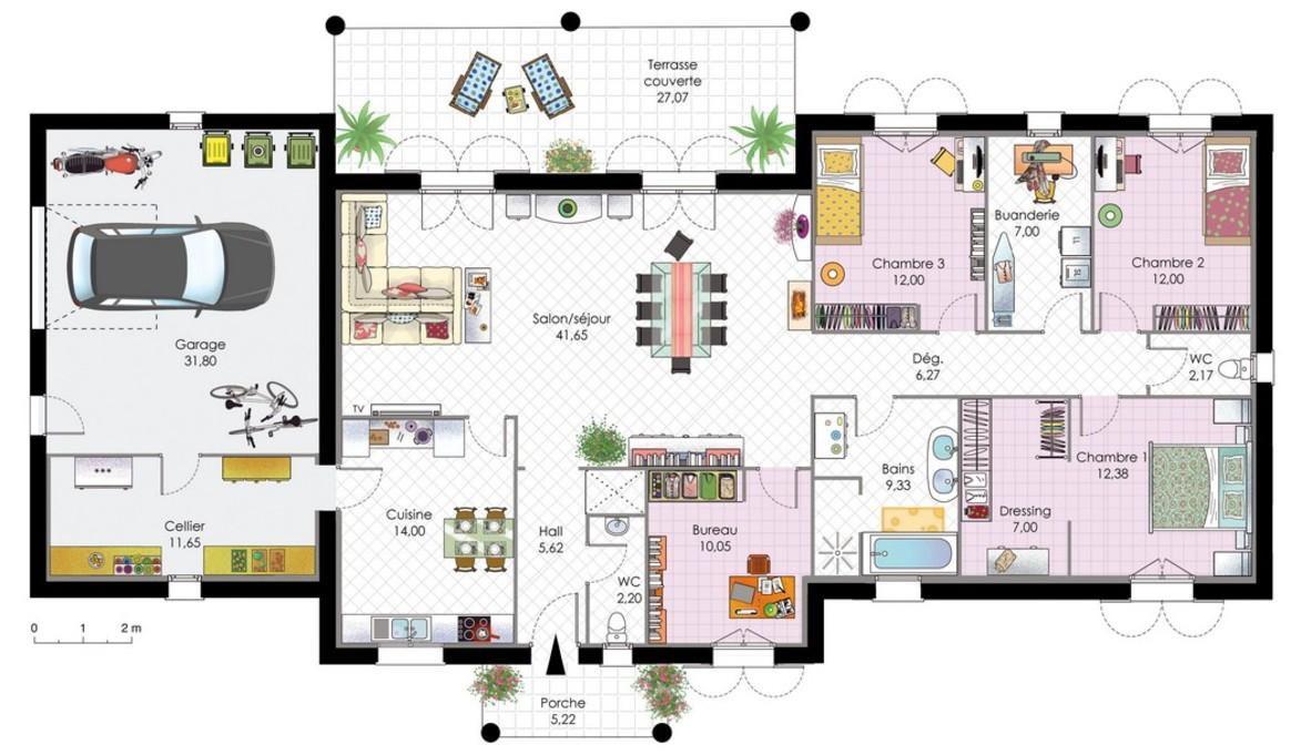 Villa moderne avec plan atelier nature