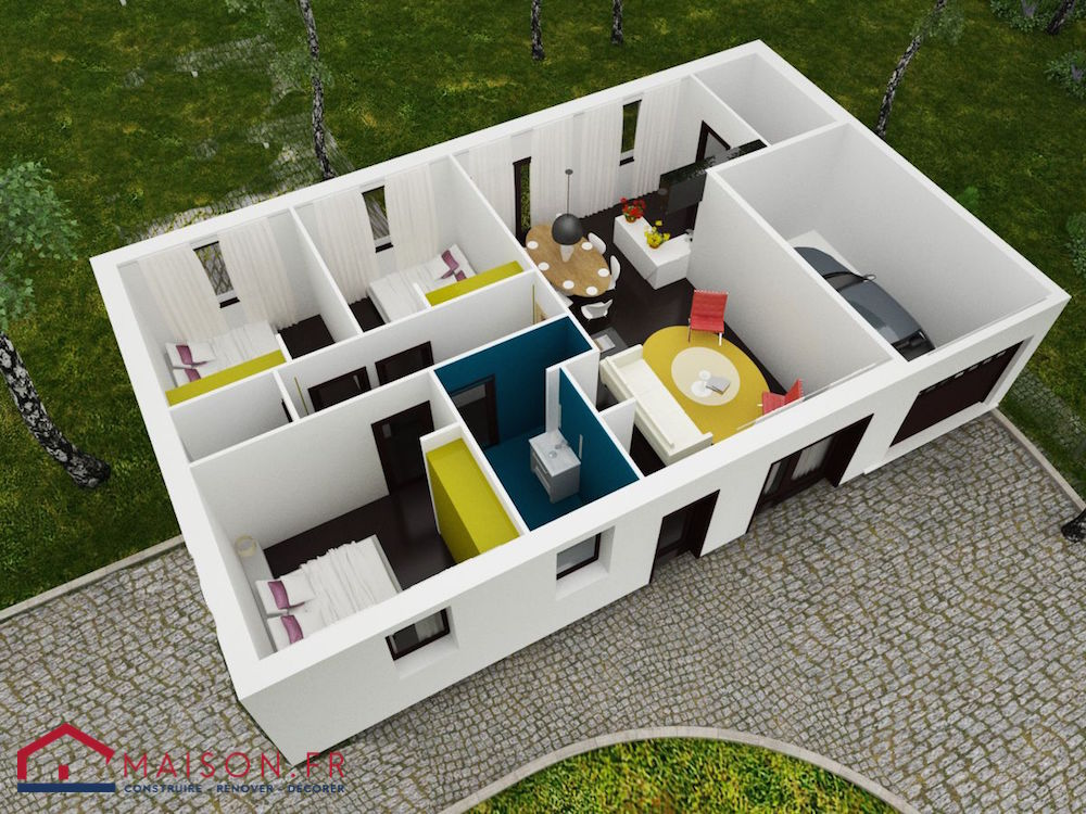 Maison contemporaine 80m2 mc immo for Plan maison 80m2 plein pied