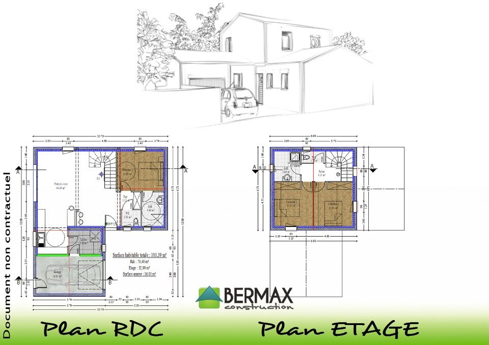 Plan maison etage moderne mc immo for Plan maison contemporaine etage