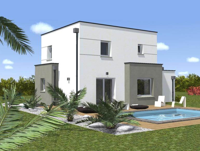 model facade villa moderne mc immo. Black Bedroom Furniture Sets. Home Design Ideas