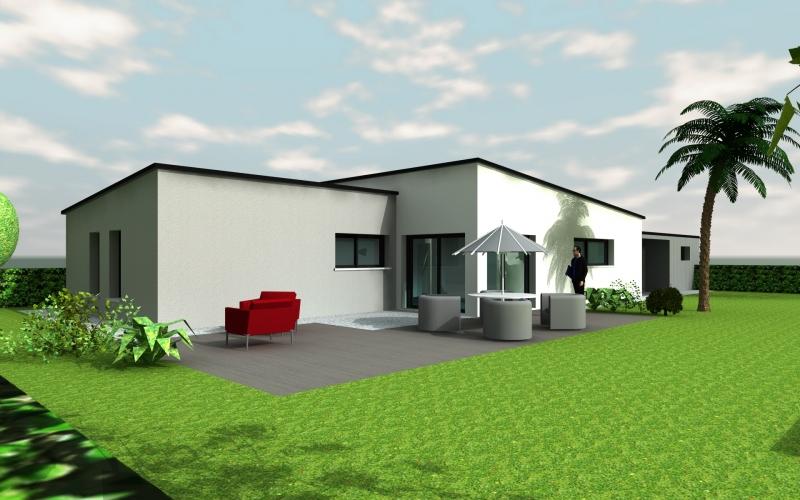 Plan maison moderne plain pied toit plat mc immo for Plan maison toit plat plain pied