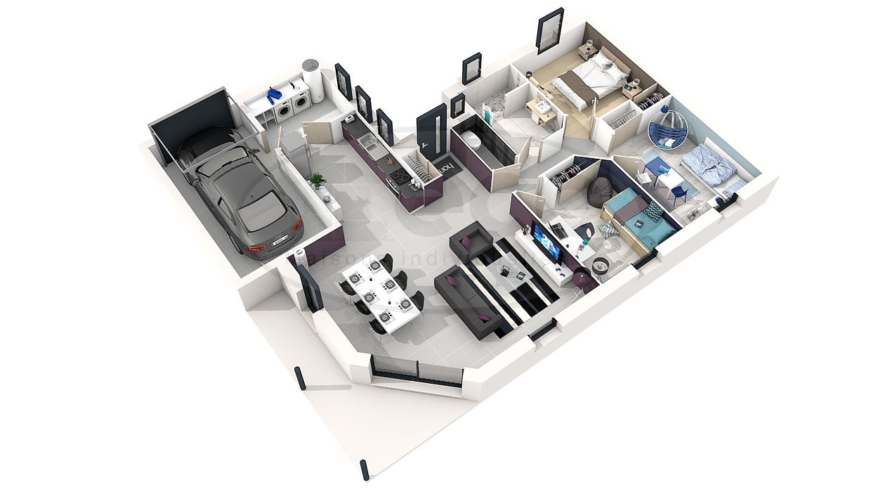 interesting plan maison moderne d chambres with maison plan 3d
