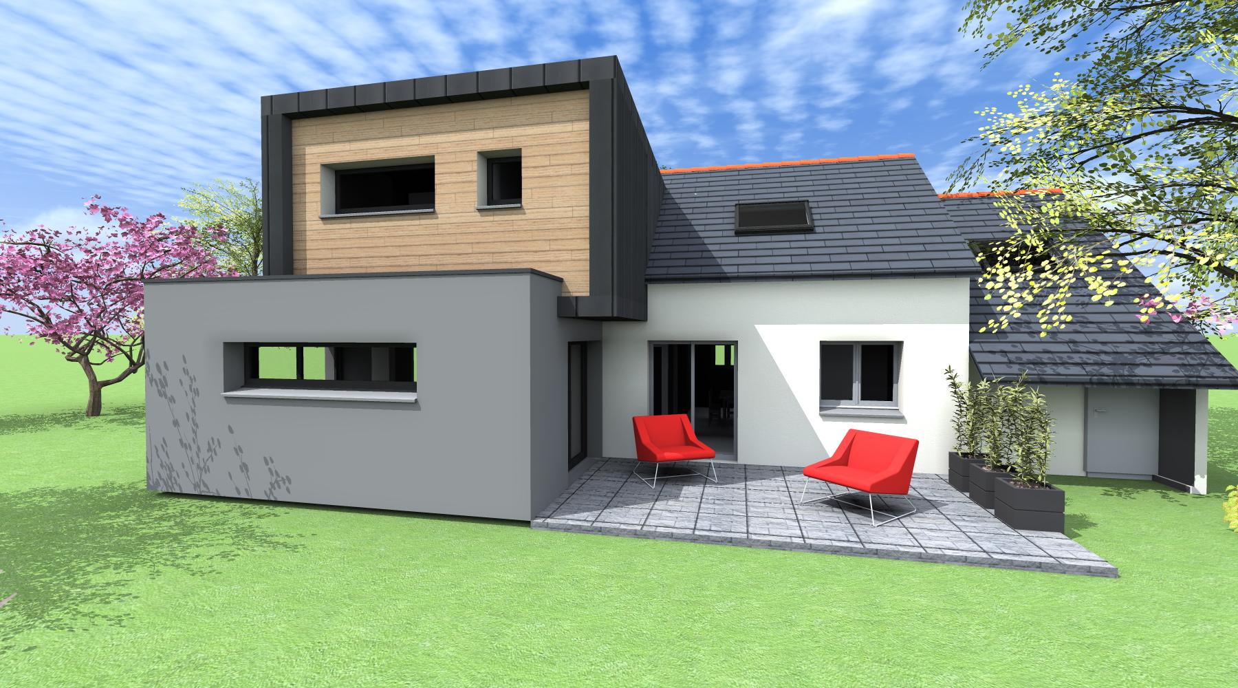 Fa ade maison moderne mc immo - Couleur facade maison contemporaine ...