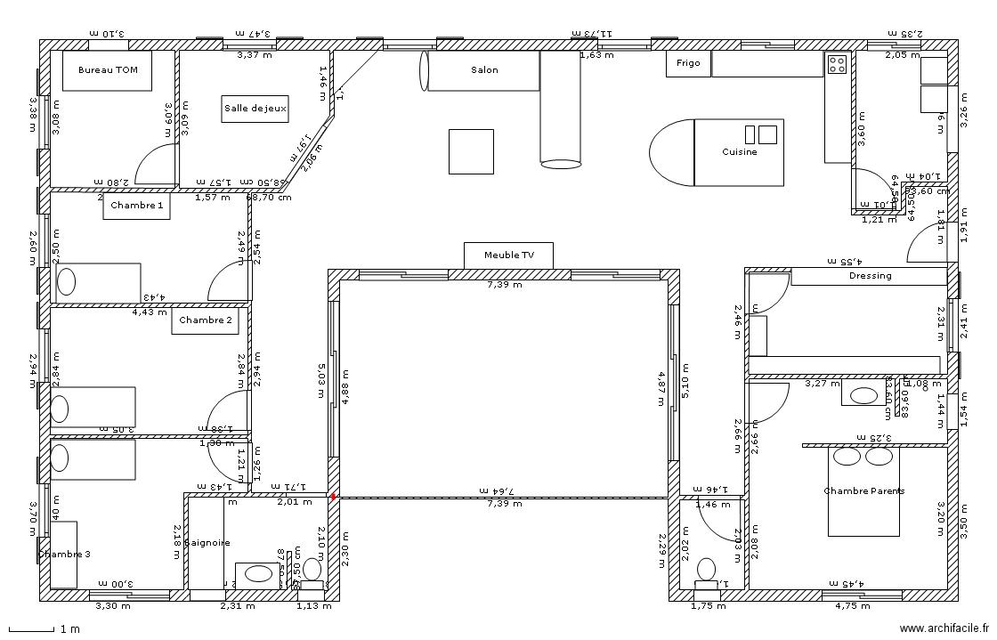 plan maison moderne en u bff3be9d13df