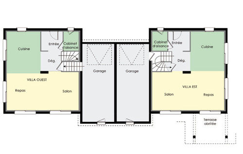Plan maison mitoyenne moderne mc immo for Plan maison contemporaine bbc