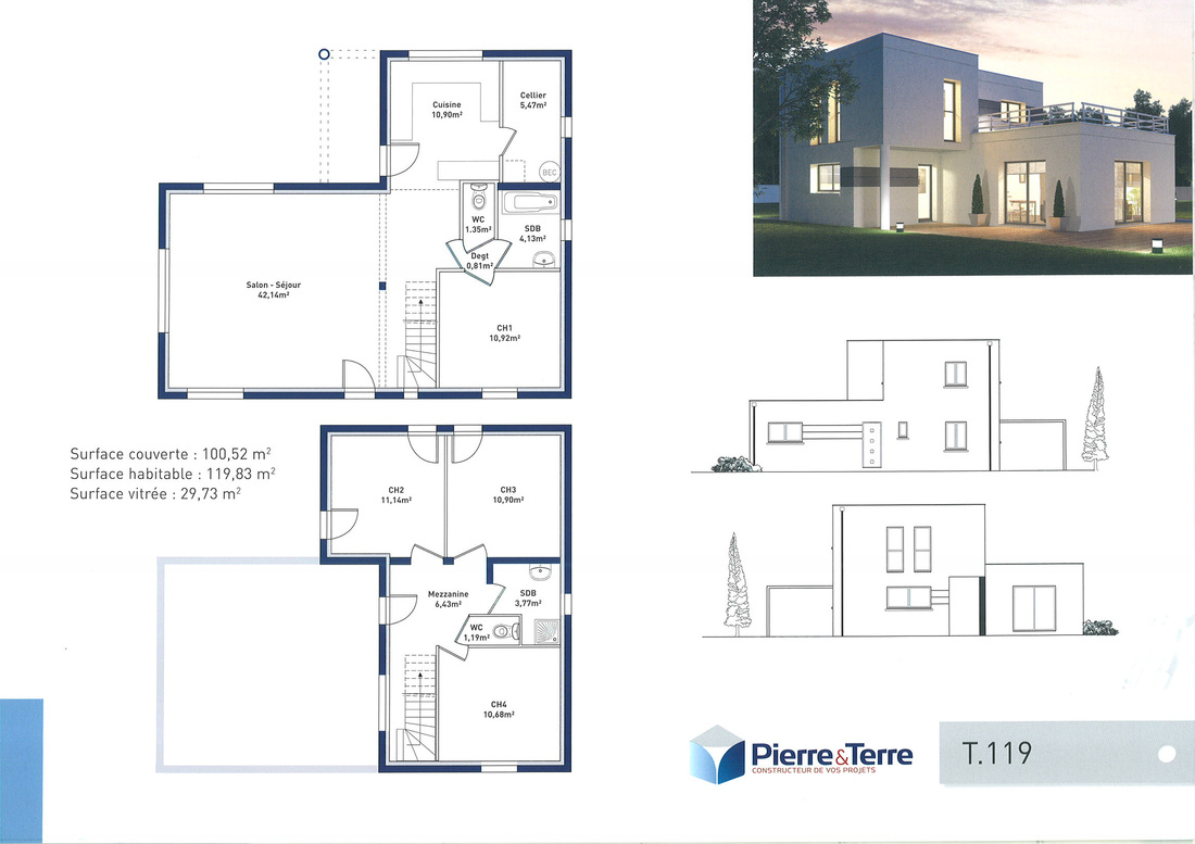 Plan maison contemporaine avec etage mc immo for Plan maison contemporaine 3 chambres