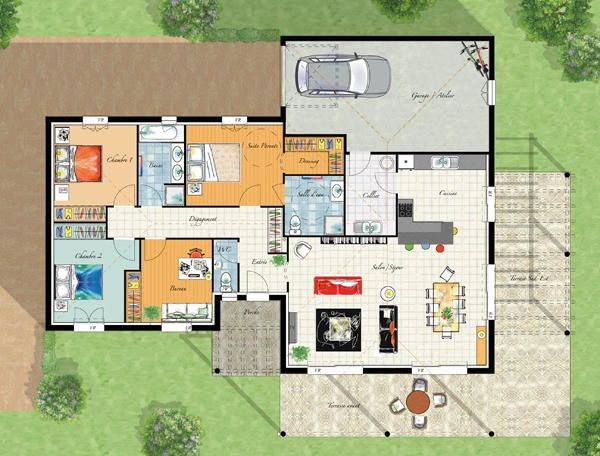 Id e plan de maison plain pied mc immo for Idee design maison