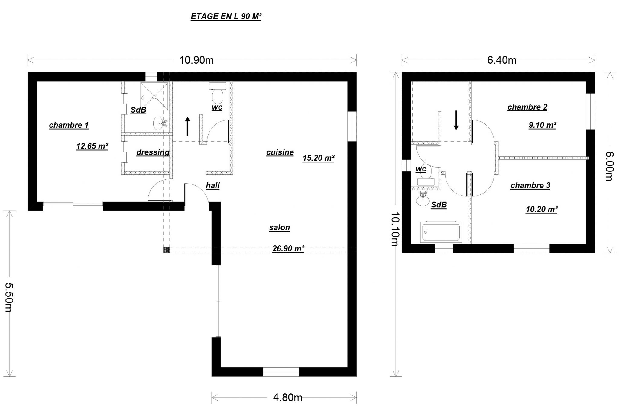 Plan maison etage en l mc immo for Plan de maison 90m2