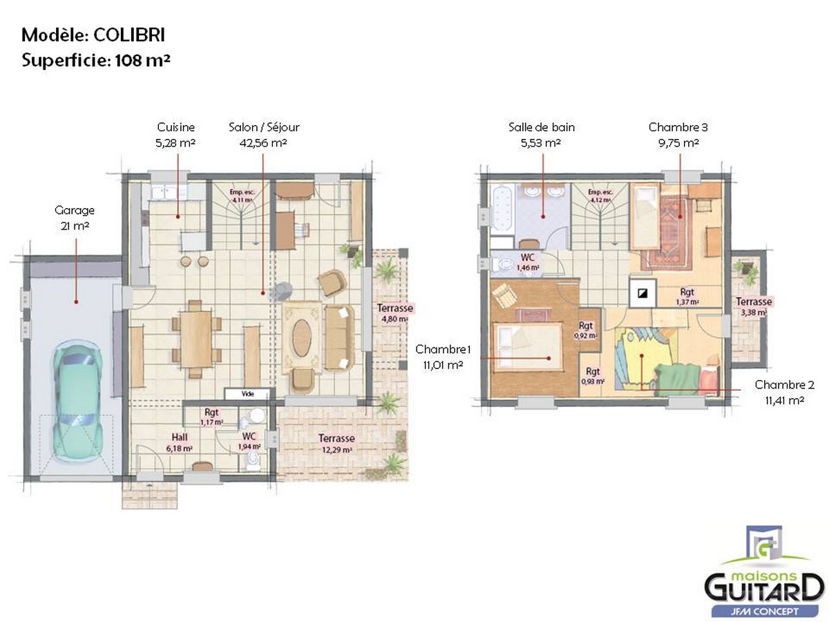 Plan maison etage toit plat mc immo for Plan maison toit plat etage