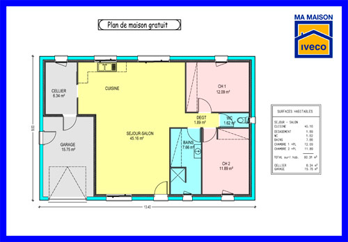 Plan Maison Moderne 2 Chambres Mc Immo