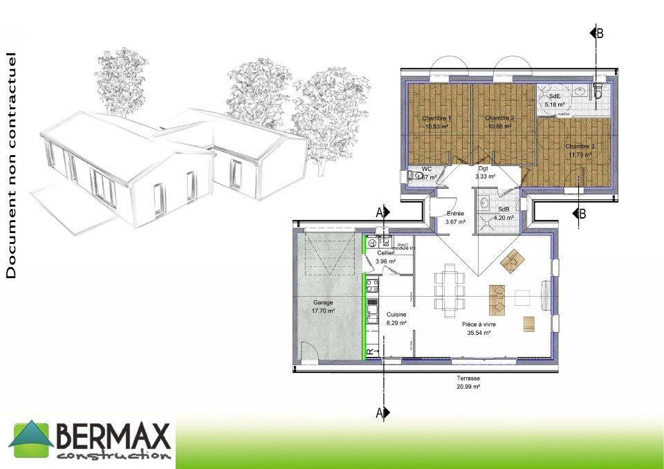 Plan Maison Contemporaine  Chambres  Mc Immo