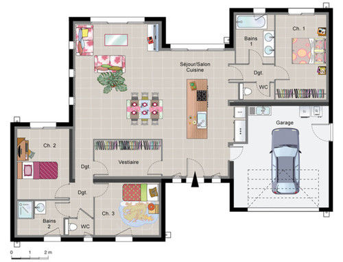 Attractif Plan Maison Contemporaine Plain Pied 3 Chambres   Mc Immo