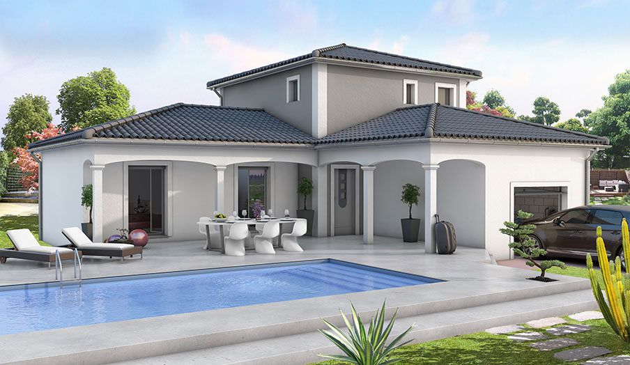Modele maison moderne mc immo for Modele de villa a construire