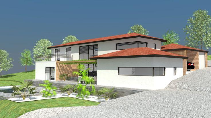 Maison contemporaine avec toit mc immo for Maison moderne 31