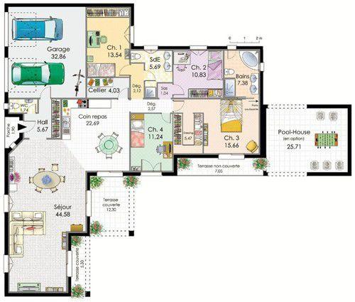 plan villa moderne plain pied mc immo. Black Bedroom Furniture Sets. Home Design Ideas