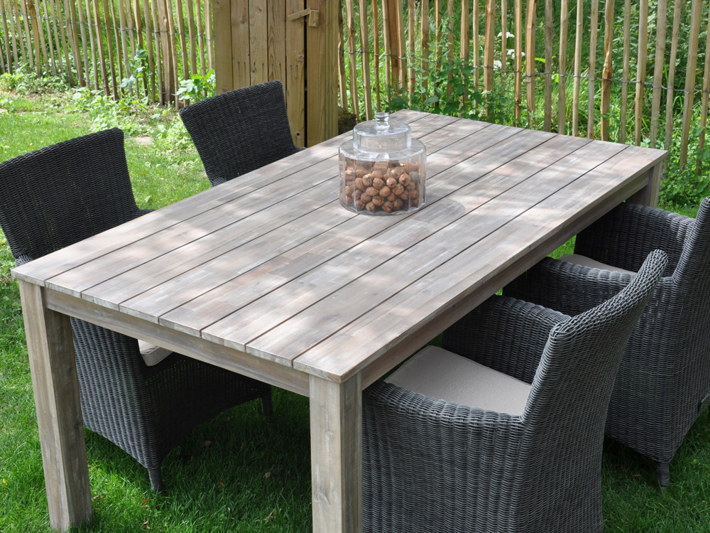 Table bois jardin for Patiner une table en bois