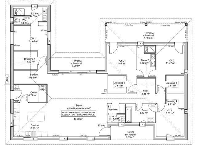 plan de maison en u moderne