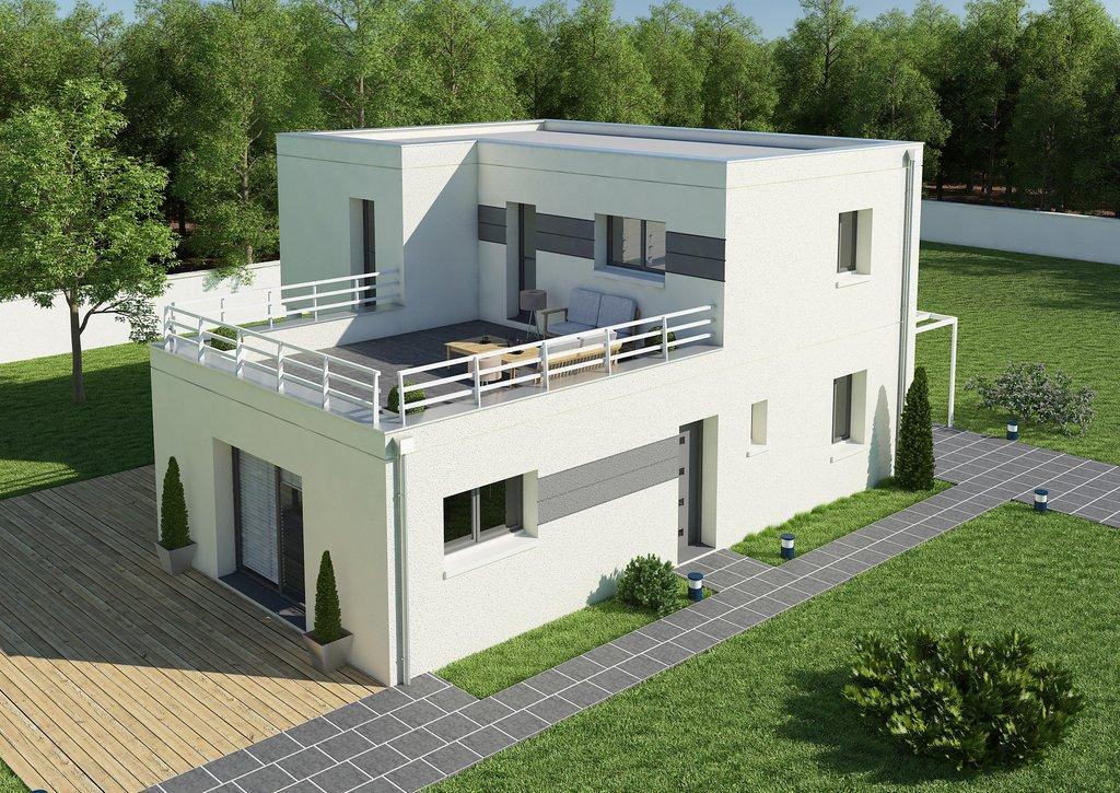 Maison moderne avec toit terrasse mc immo - Constructeur maison contemporaine toit plat avec pasio ...