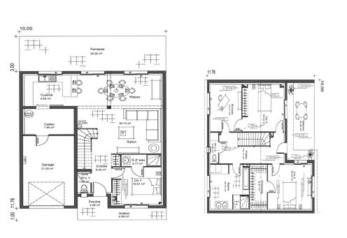 Plan maison moderne a etage mc immo for Plan architecte villa moderne
