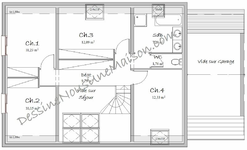 plan de maison 1 étage 4 chambres