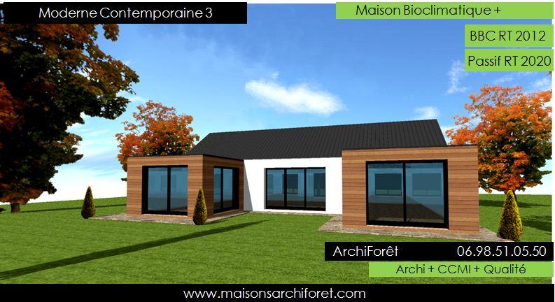 Maison en u moderne mc immo - Maison contemporaine toit 4 pentes ...