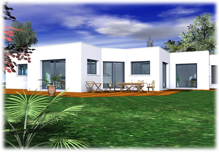 Maison toit plat plain pied mc immo for Plan maison toit plat plain pied