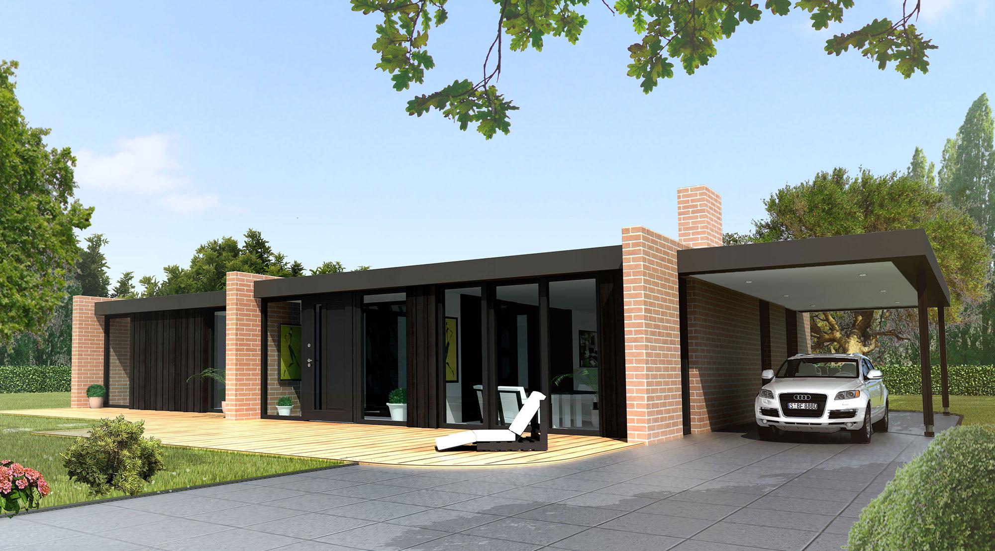Maison cube plein pied moderne mc immo - Plan maison plein pied moderne ...