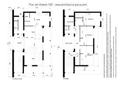 Plan d une villa moderne mc immo for Plan maison architecte moderne