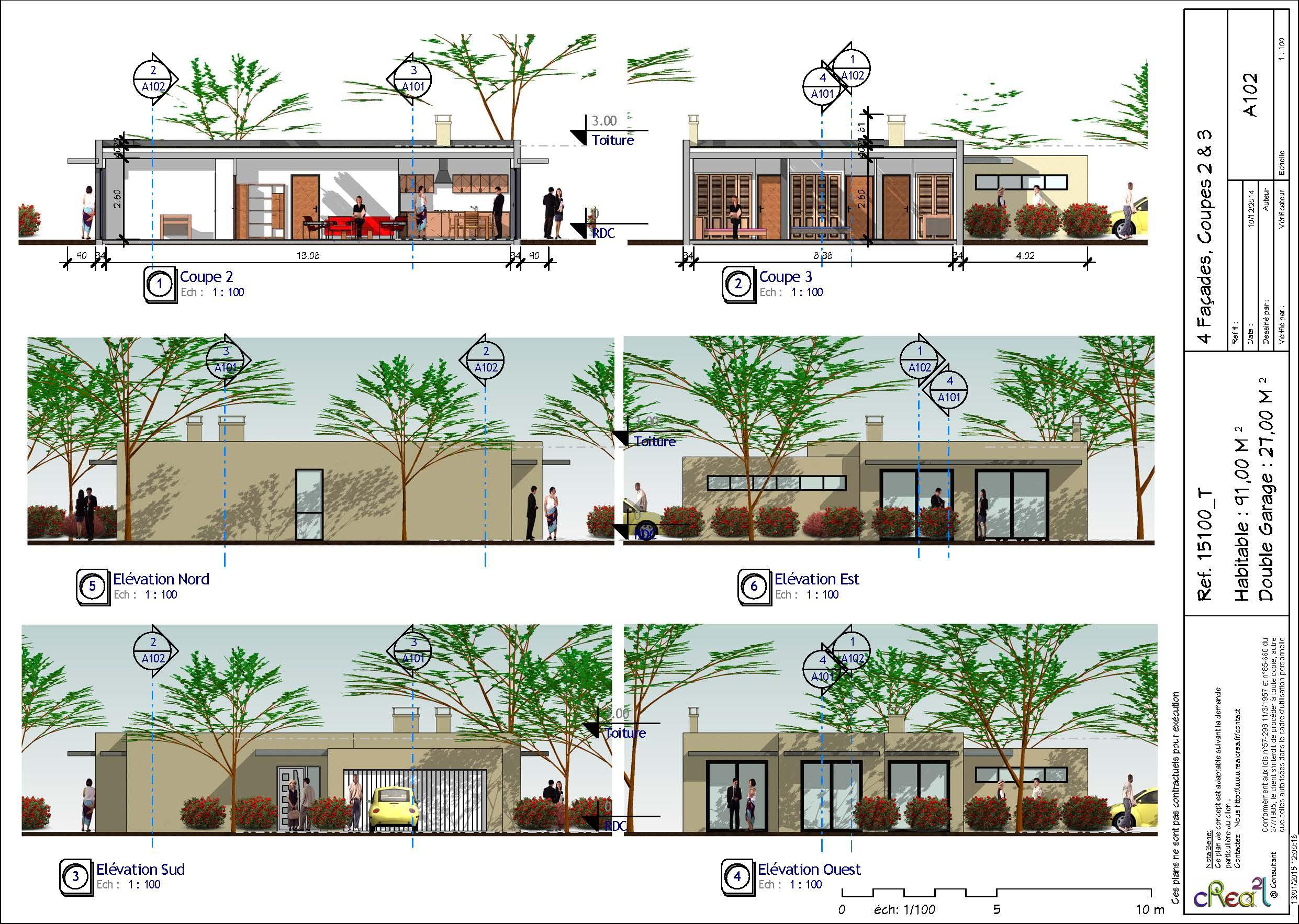 Plan maison toit plat plain pied - Mc immo