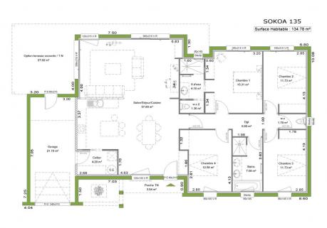 plan de maison contemporaine toit plat