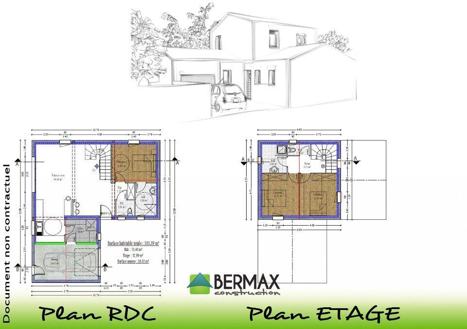 Plan maison moderne tage mc immo for Achat maison neuve evreux