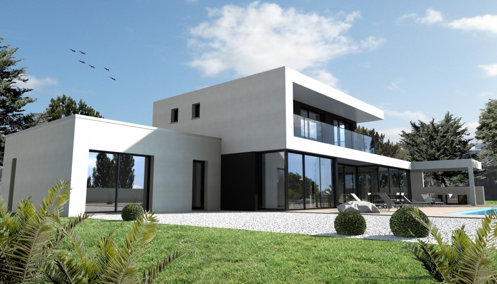 Annexe maison moderne mc immo for Plan de construction villa moderne