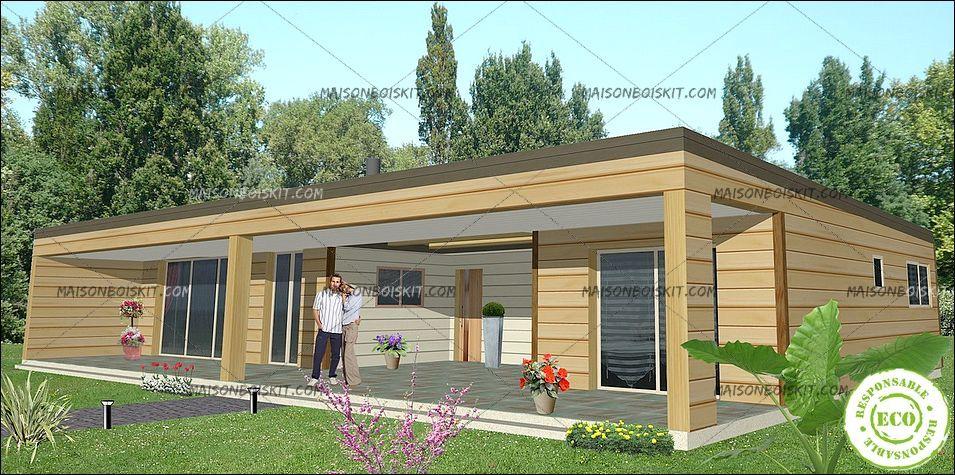 Chalet en bois toit plat mc immo for Maison ossature en bois prix