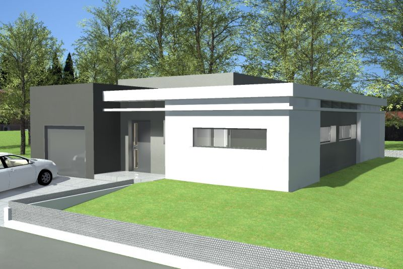 Plan maison toit terrasse plain pied mc immo for Villa basse moderne