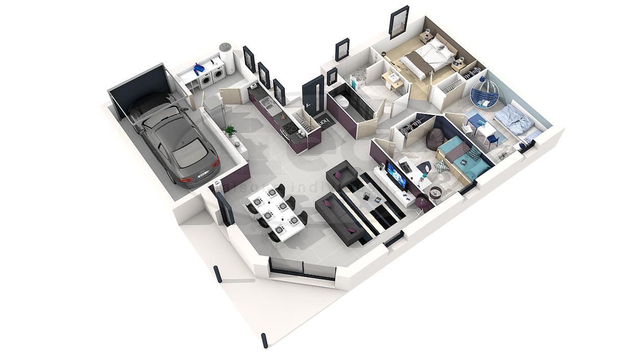 Plan villa moderne 3d mc immo for Plan d interieur maison moderne