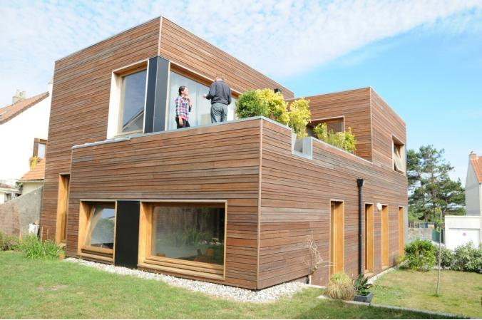 Maison moderne en bois mc immo for Maison moderne mc