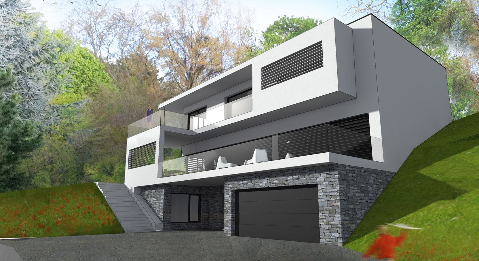 Maison contemporaine architecte mc immo - Plan de maison d architecte ...
