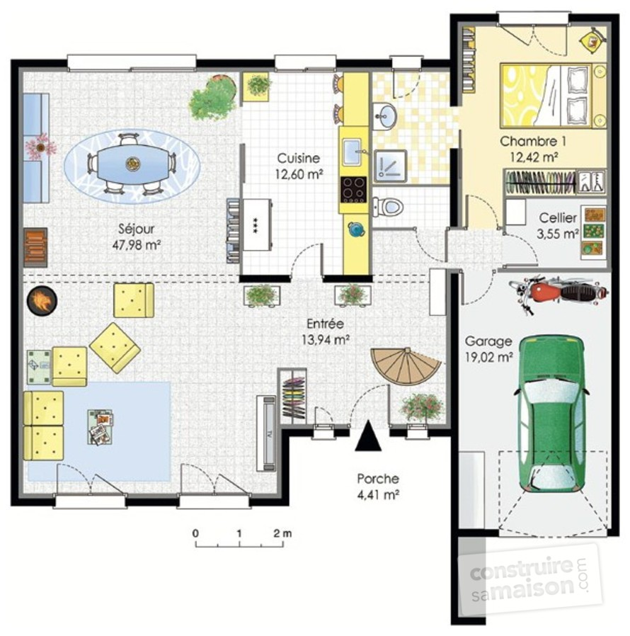 Plan maison contemporaine etage mc immo for Maison contemporaine plan