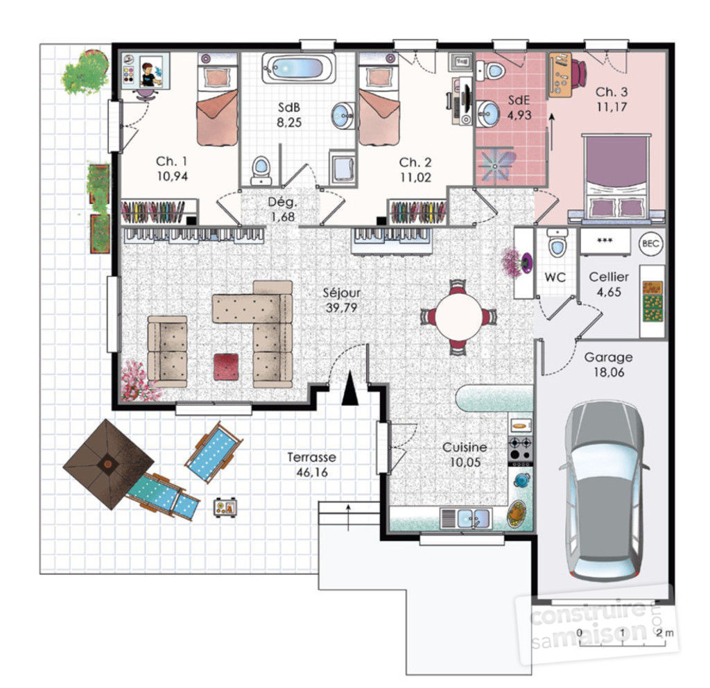 Plan maison villa basse