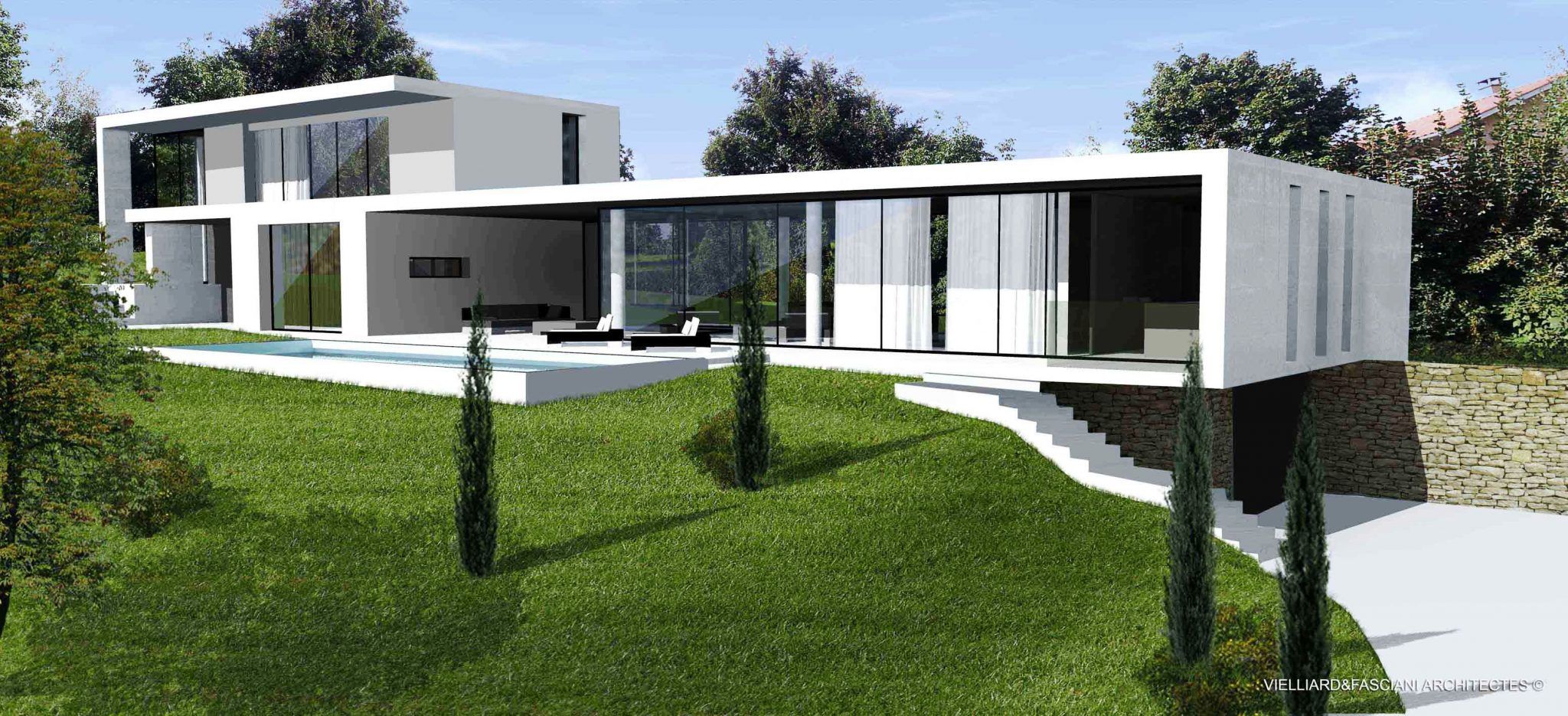 Architecture des villas modernes mc immo for Plan architecte villa moderne