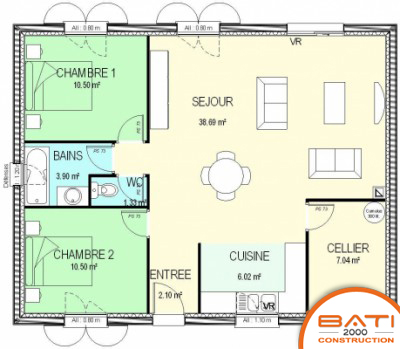 Plan maison moderne 2 chambres mc immo for Plan maison moderne 2 chambres