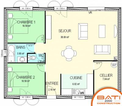 Plan maison moderne 2 chambres mc immo for Plan de maison avec 2 chambres