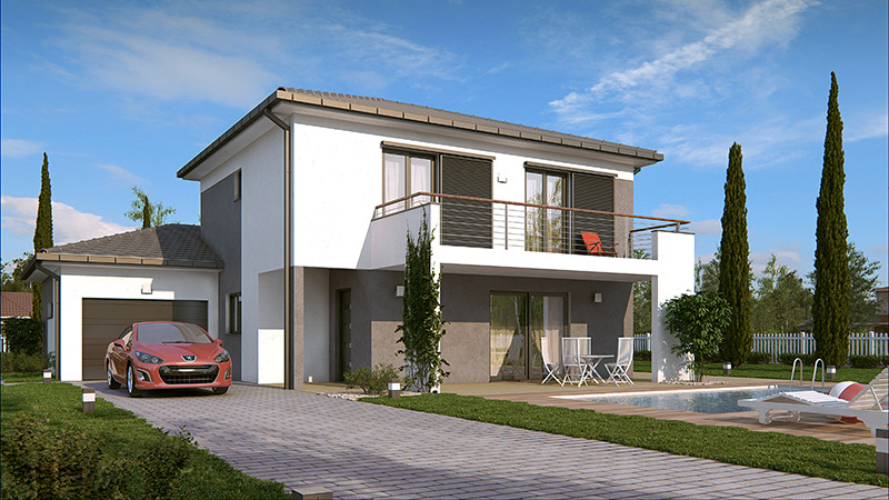Maison etage moderne mc immo for Maison moderne mc