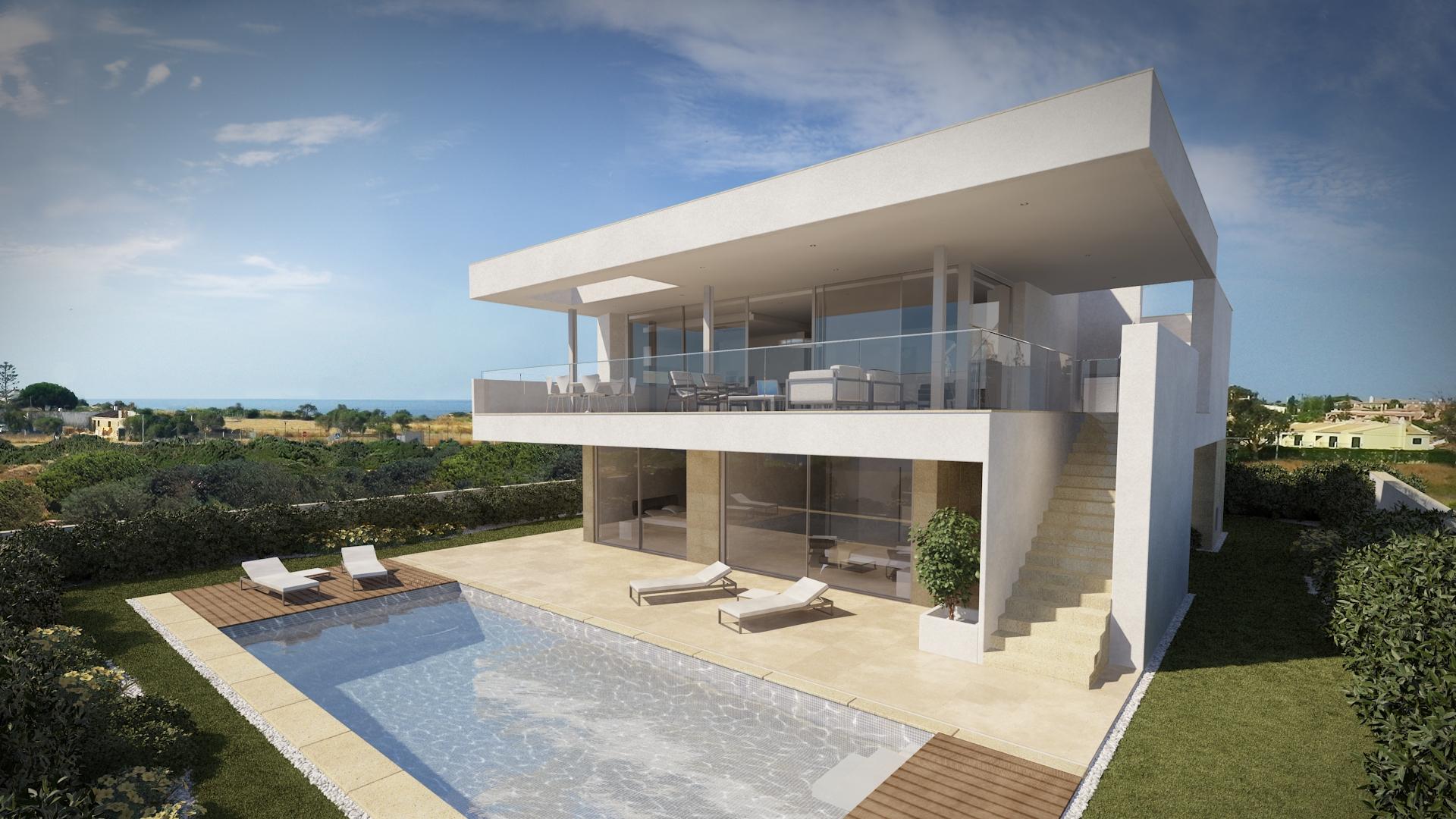 Plan maison plain pied moderne toit plat mc immo for Petite maison contemporaine toit plat