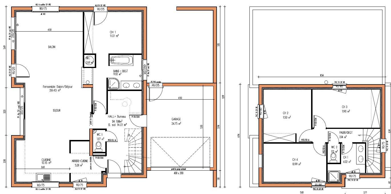 Plan Maison Moderne 4 Chambres Mc Immo