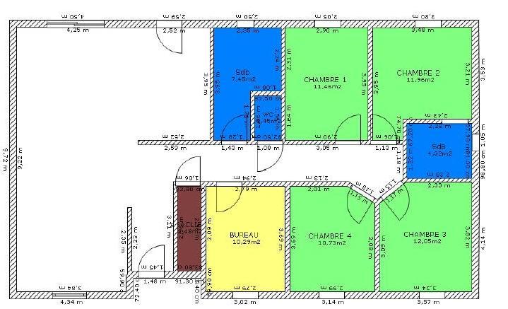 Plan Maison Moderne Plain Pied  Chambres  Mc Immo
