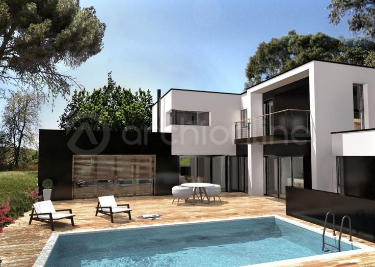 Maison contemporaine 120m2 mc immo for Plan architecte villa moderne