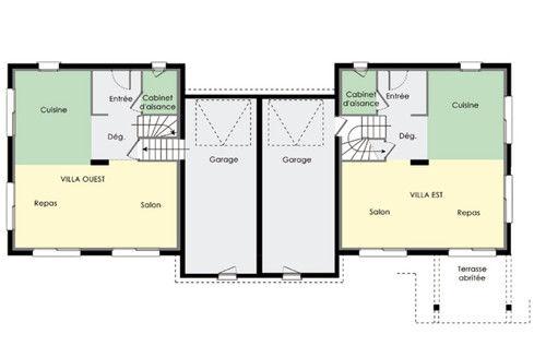 plan de maison mitoyenne