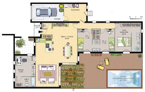 Plan Maison Plain Pied  Chambres Moderne  Mc Immo